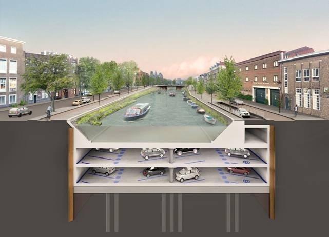 Parkeergarage onder Amsterdamse gracht